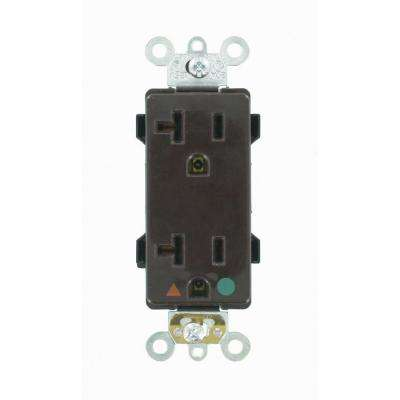 20 Amp Decora Plus Hospital Grade Extra Heavy Duty Isolated Ground Duplex Outlet, Brown