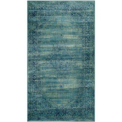 Vintage Turquoise/Multi 4 ft. x 5 ft. 7 in. Area Rug