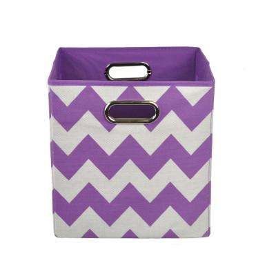 Color 10.5 in. x 10.5 in. x 10.5 in. Chevron Folding Pop Purple Fabric Storage Bin
