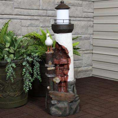 Gull's Cove Outdoor Lighthouse Cascading Water Fountain with LED Light