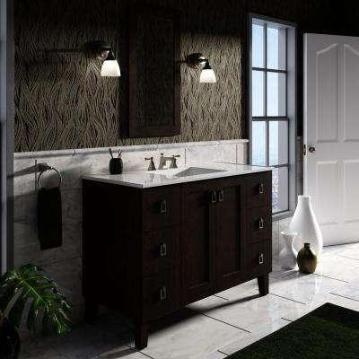 Poplin 48 in. Vanity in Claret Suede with Vitreous China Vanity Top in White
