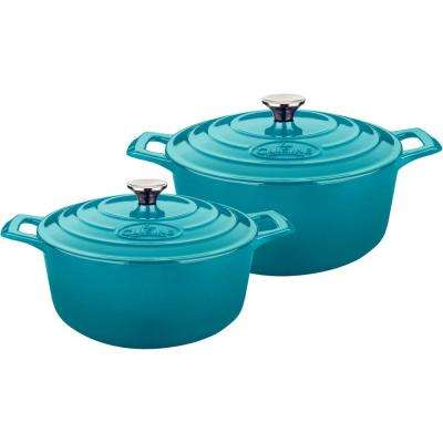 4-Piece Cast Iron Round Casserole Set with Enamel Finish in High Gloss Teal