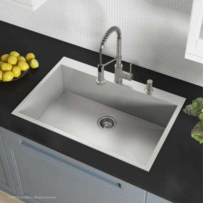 Pax All-in-One Drop-In Stainless Steel 33 in. 2-Hole Single Bowl Kitchen Sink with Bolden Faucet in Stainless Steel