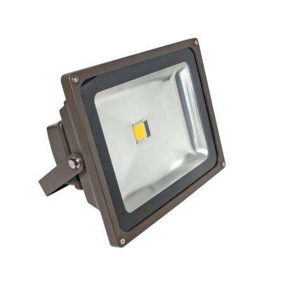 1-Head Bronze LED Soft White Outdoor Wall-Mount Flood Light