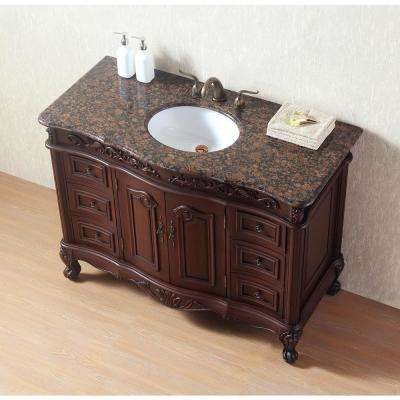 Saturn 48 in. Dark Cherry Single Sink Bathroom Vanity with Granite Vanity Top and White Basin