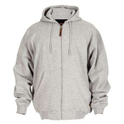 Men's Medium Grey Cotton and Polyester Regular Thermal Lined Hooded Sweatshirt