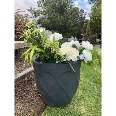 Large 20 in. Dia Lightweight Concrete Modern Retro Round Charcoal Planter