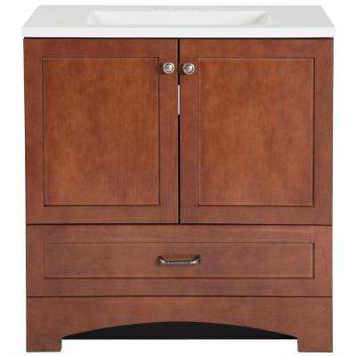 Lancaster 30 in. Vanity in Amber with Alpine AB Engineered Composite Vanity Top in White with White Basin