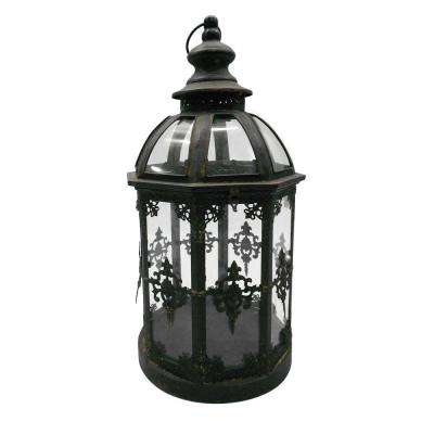 10 in. x 19 in. Round Glass Battery-Powered Candle Lantern with Classic Iron Frame