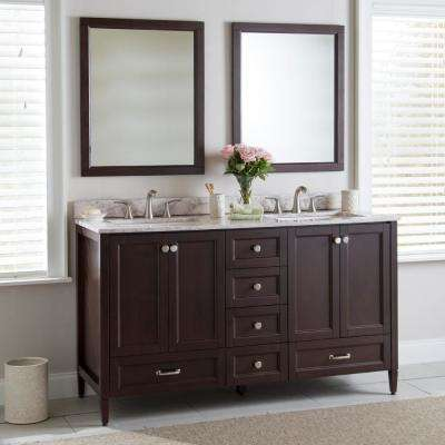 Claxby 61 in. W x 22 in. D Bathroom Vanity in Chocolate with Stone Effects Vanity Top in Winter Mist with White Sink