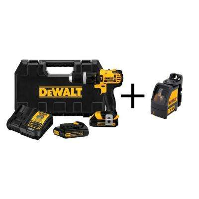 20-Volt Max Lithium Ion Cordless Hammer Drill Kit with Bonus Self Leveling Cross Line Laser