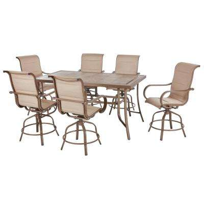 Sun Valley 7-Piece Aluminum Outdoor Patio Bar Height Dining Set with Sunbrella Sling