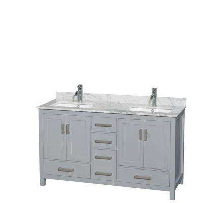Sheffield 60 in. W x 22 in. D Vanity in Gray with Marble Vanity Top in Carrara White with White Basins