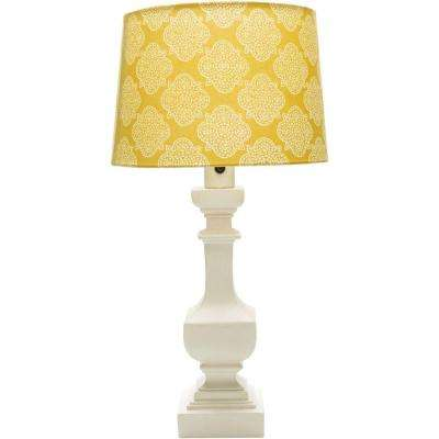 Aurel 29 in. White Indoor/Outdoor Table Lamp with Yellow Print Shade