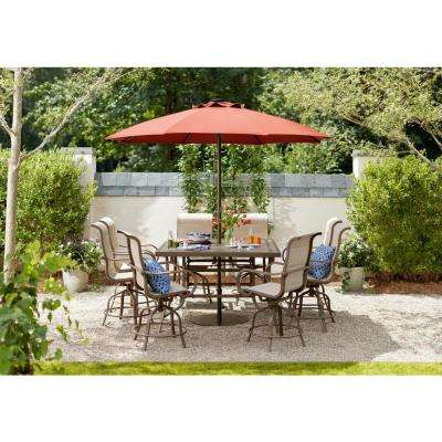 Sun Valley 9-Piece Aluminum Outdoor Bar Height Dining Set with Sunbrella Sling
