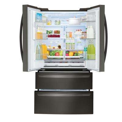 27.8 cu. ft. 4-Door French Door Smart Refrigerator with 2 Freezer Drawers and Wi-Fi Enabled in Black Stainless Steel