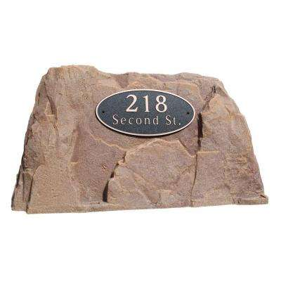 39 in. L x 21 in. W x 21 in. H Plastic Rock Cover with Oval Sign in Orange/Burgundy