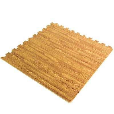 Multipurpose Wood Grain 23.6 in. x 23.6 in. EVA Rubber High Density Interlocking Exercise Tile Mat (6-Pack)
