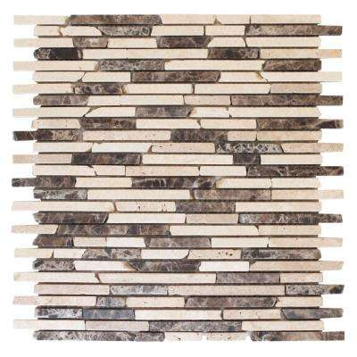 English Stone Emperador 11 in. x 12.25 in. x 8 mm Travertine and Marble Mosaic Wall Tile