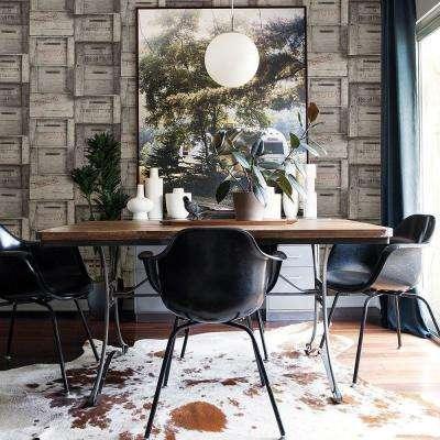 Grey Wood Crates Distressed Wood Wallpaper Sample