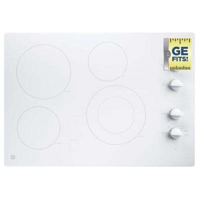 GE 30 in. Radiant Electric Cooktop in White with 4 Elements including Power Boil GE