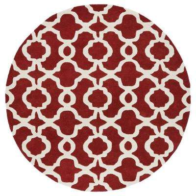 Revolution Red 3 ft. 9 in. x 3 ft. 9 in. Round Area Rug