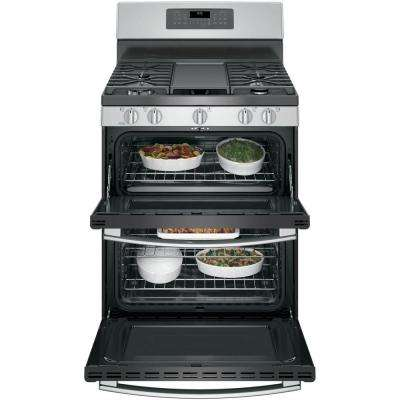 6.8 cu. ft. Double Oven Gas Range with Self-Cleaning and Convection Lower Oven in Stainless Steel