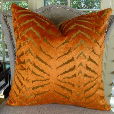 Magnetism 12 in. x 20 in. Orange Hypoallergenic Down Alternative Handmade Double Sided Throw Pillow