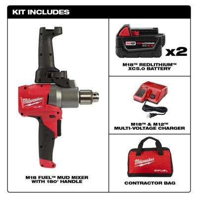 M18 FUEL 18-Volt Lithium-Ion Brushless Cordless 1/2 in. Mud Mixer Kit W/(2) 5.0Ah Batteries, Charger & Tool Bag