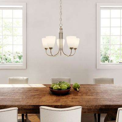 Gather 20.5 in. 5-Light Brushed Nickel Dining Room Chandelier with Etched Glass