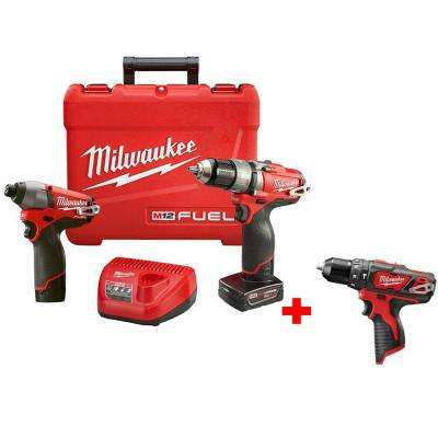 M12 FUEL 12-Volt Lithium-Ion Brushless 1/2 in. Hammer Drill/Impact Combo Kit with Free M12 3/8 in. Hammer Drill