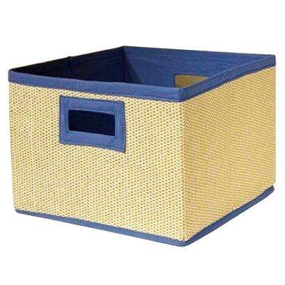 13 in. x 8 in. Wood Fiber Cream and Blue Storage Baskets (Set of 3)