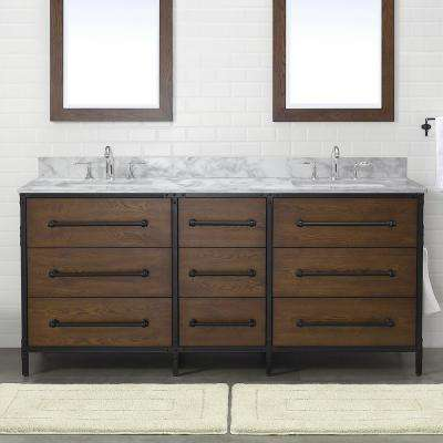 Grandburgh 73 in. W x 22 in. D Bath Vanity in Coffee Swirl with Marble Vanity Top in Carrara with White Sinks