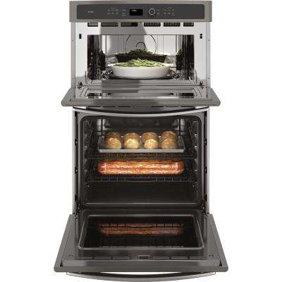 Profile 27 in. Double Electric Wall Oven with Convection Self-Cleaning and Built-In Microwave in Slate