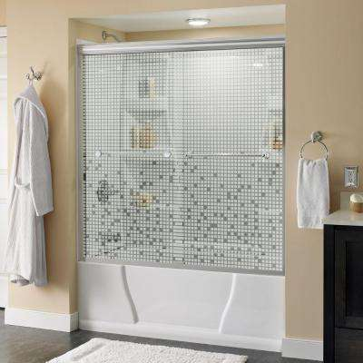 Crestfield 59-3/8 in. x 58-1/8 in. Semi-Frameless Sliding Tub Door in Polished Chrome with Mozaic Glass