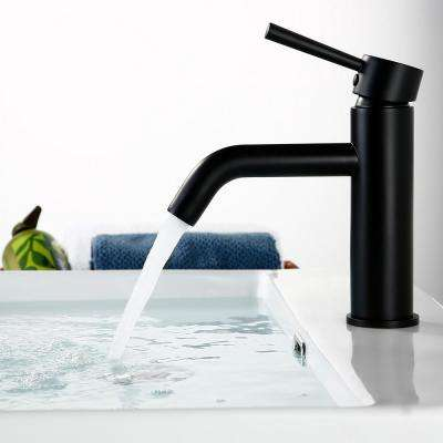 Single Hole Single Handle Bathroom Faucet with Deck Mount in Matte Black
