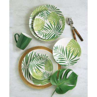 Palm Leaf 16-Piece Casual Green Ceramic Dinnerware Set (Service for 4)