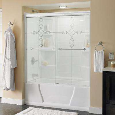 Lyndall 60 in. x 58-1/8 in. Semi-Frameless Sliding Bathtub Door in White with Chrome Handle and Tranquility Glass