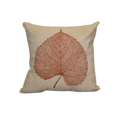 16 in. x 16 in. Leaf Study, Floral Print Pillow, Rust Orange