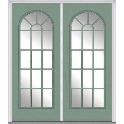 64 in. x 80 in. Clear Glass Left-Hand Full Lite External Grilles Round Top Classic Painted Steel Prehung Front Door