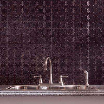 24 in. x 18 in. Traditional 6 PVC Decorative Backsplash Panel in Smoked Pewter