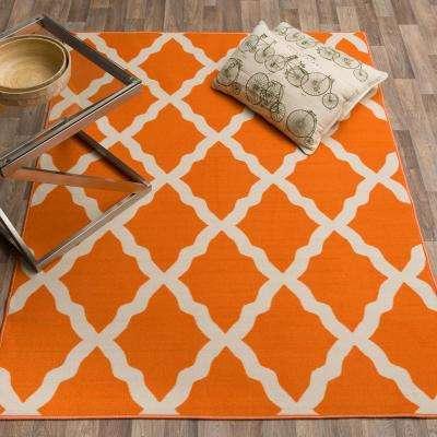 Clifton Collection Moroccan Trellis Design Orange 5 ft. x 7 ft. Area Rug