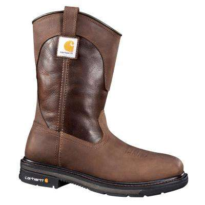 Rugged Flex Square Toe Men's  Two Tone Brown Leather NWP Steel Safety Toe Work Boot