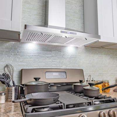 36 in. Convertible Kitchen Wall Mount Range Hood in Stainless Steel with LEDs, Touch Control and Carbon Filters