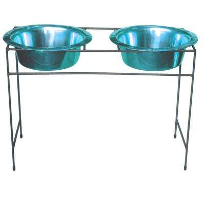 12 Cup Wrought Iron Modern Diner Dog Stand with Extra Wide Rimmed Bowls in Teal