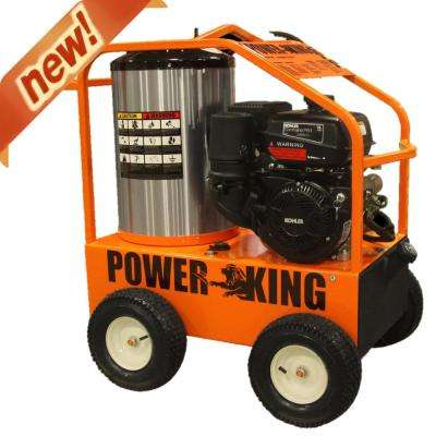 4,000-PSI 3.5 GPM Gasoline Powered Commercial Hot Water Pressure Washer, Oil-Fired, 14HP Kohler Pro Engine, Triplex Pump