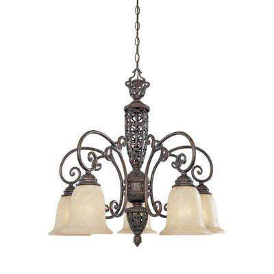 Somerset 5-Light Burnt Umber Hanging Chandelier