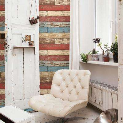 Red Scrap Wood Weathered Wallpaper Sample