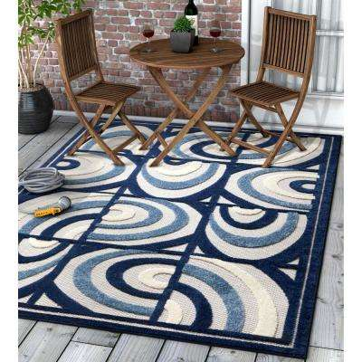 Dorado Lucente 7 ft. 10 in. x 9 ft. 10 in. Modern Abstract Tile Work Blue High-Low Indoor/Outdoor Area Rug