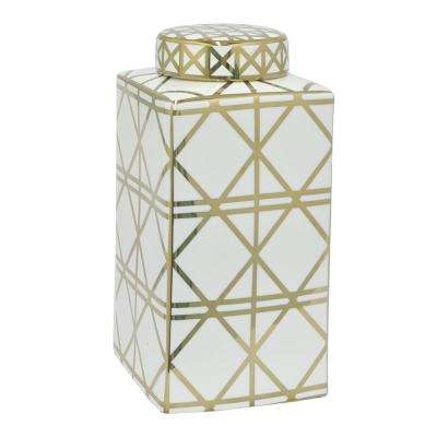 White and Gold Porcelain Jar
